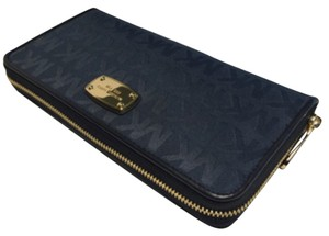 Michael Kors Michael Kora Large Travel ZA Continental Wallet Clutch Signature MK Navy Jacquard