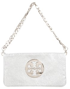 Tory Burch Hardware Metallic Reva Clutch Pebbled Shoulder Bag