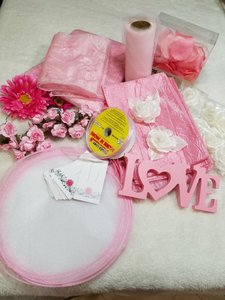 Bundle Of Pink & White Assorted Decorations
