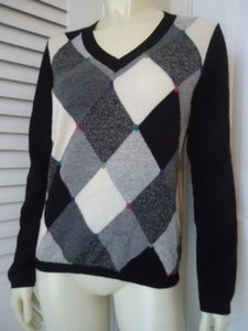 Charter Club Cashmere Argyle Embroidered Accents Sweater