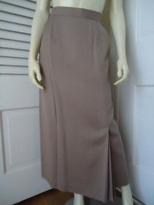 Barry Bricken Long Linen Blend Runs Small 128 Lined Faux Slit Maxi Skirt Beiges
