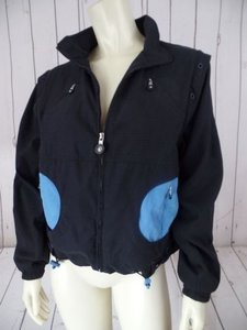 Jamie Sadock Vest Womens Poly Lined Zip Front Art To Wear Hot Black with Blue inserts Jacket