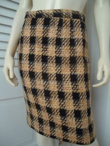 Albert Nipon Vintage Wool Blend Lined Plaid Retro 60s Mad Straight Skirt Multi-Color