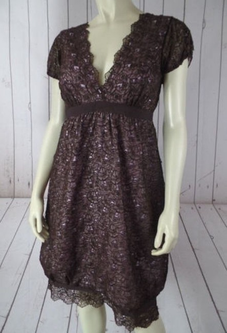 Preload https://img-static.tradesy.com/item/14093560/nicole-miller-collection-dress-silk-brown-floral-lace-overlay-pink-lining-chic-0-0-650-650.jpg