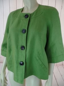 Jones New York Jones York Blazer Lime Linen Button Front Raglan 34 Bell Sleeves Retro