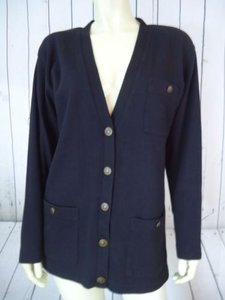 Talbots Talbots Blazer Long Black Stretch Cotton Button Front Sweatshirt Fabric Comfy