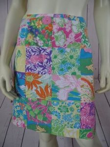 Lilly Pulitzer Faux Patchwork Multicolor Floral Frogs Mini Chic Skirt Blue Yellow Green Pink Orange White Purple