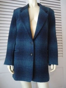 Eddie Bauer Eddie Bauer Womens Long Wool Blend Blazer Coat Blue Plaid Lined Warm Classy