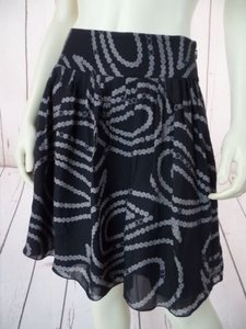Banana Republic Silk Pleated Abstract Lined Hot Skirt Black Taupe