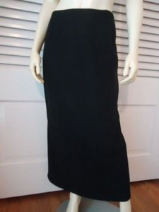 Eddie Bauer Petite Wool Blend Straight Long Back Slit Chic Skirt Blacks
