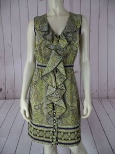 Beth Bowley short dress Black & Yellow Silk Button Front Sleeveless Paisley Classy on Tradesy