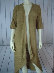 Chico's O Long Gold Cotton Rounded Asymmetrical Hem Open Front Cable Knit Sweater