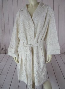 Other Janie Bryant Mod Blazer Coat 3x Beige Floral Lace Overlay Button Front Chic