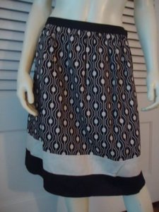 Talbots Petites Stretch Gathered Op Art Bands At Hem Unlined Chic Skirt Coffee and cream