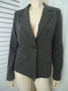 Other Monteau Anthropologie Blazer Gray Black Pinstripe Stretch Knit Lined Chic