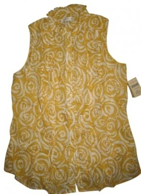 Preload https://item5.tradesy.com/images/coldwater-creek-mustard-yellow-and-cream-scroll-print-shell-001019326sleeveless-embroidered-cotton-t-140939-0-0.jpg?width=400&height=650