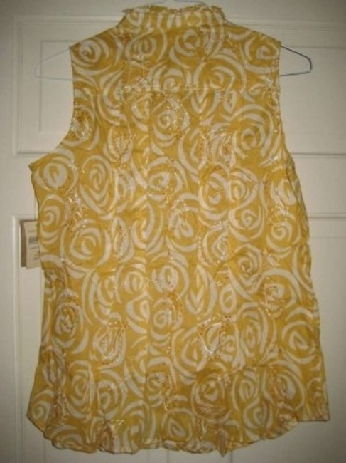 Coldwater Creek Top Mustard yellow and cream