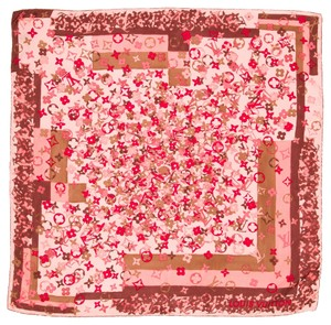Louis Vuitton Pink, red multicolor Louis Vuitton floral print LV monogram silk scarf New