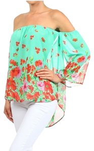 MOA USA Off Shoulder Floral Top Turquoise