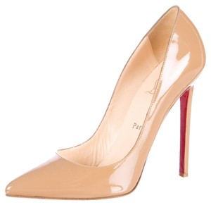 Christian Louboutin Patent Leather So Kate Pointed Toe Stiletto Pigalle Beige, Tan Pumps