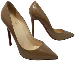 Christian Louboutin Patent Leather So Kate Pointed Toe Stiletto Pigalle Beige Pumps