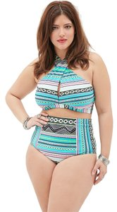 Forever 21 Forever 21 Plus White Jade Tribal high-waisted Bikini Set 2pc Set Swimsuit 2X