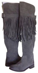 Free People Fringe Suede Over The Knee Gray Boots