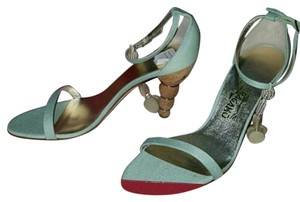 Salvatore Ferragamo Green Formal mint green. beige. mother of pearl Sandals