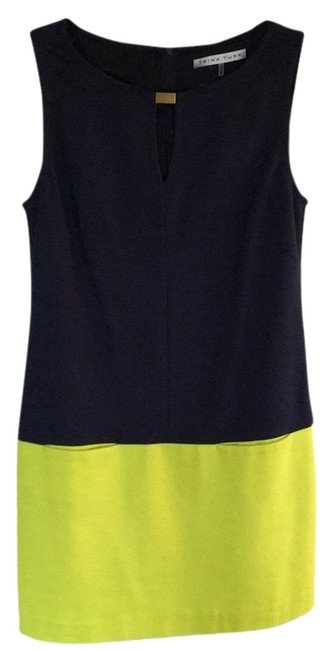 Item - Navy and Yellow Mini Cocktail Dress Size 6 (S)