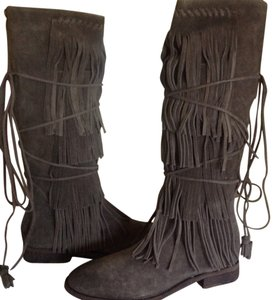 Free People Suede Fringed Knee Height Gray Boots