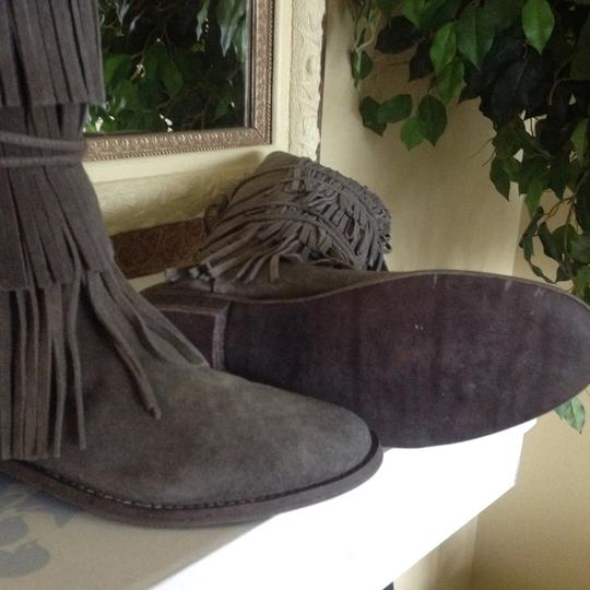 Free People Suede Fringed Knee Height Gray Boots Image 1