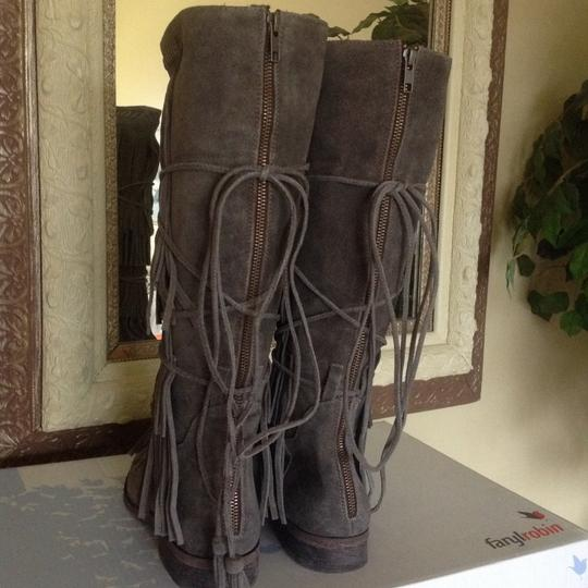 Free People Suede Fringed Knee Height Gray Boots Image 2
