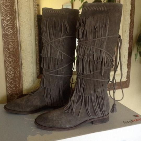 Free People Suede Fringed Knee Height Gray Boots Image 3