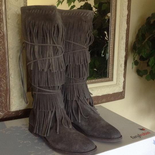 Free People Suede Fringed Knee Height Gray Boots Image 4