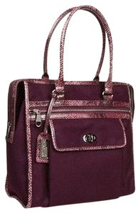 Badgley Mischka Hobo Satchel Designer Diaper Laptop Tote in AUBERGINE