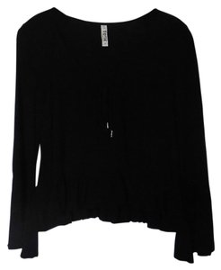 Mudd Rayon Crop Tie Lace Trim Top Black