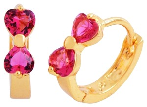 New 14K Gold Filled Pink Cubic Zirconia Small Hoop Earrings J2306