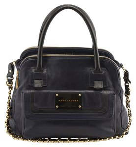 Marc Jacobs Seventies Leather Satchel in Black & Blue