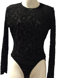 Ann Taylor Velour Spandex Nylon Top Black