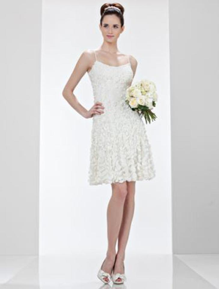 9df1ba53353 Theia Ivory Silk Fabric Flowers with Seed Pearls and Tulle Alison 880613  Formal Wedding Dress Size ...