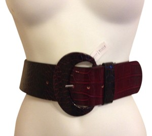 White House | Black Market White House Black Market Wide Dark Red Textured Belt