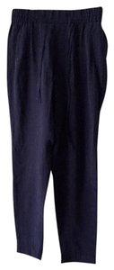 Zara Trousers Drawstring Baggy Pants Navy