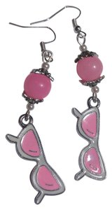 Other New Pink White Silver Sunglasses Charm Earrings Long J2308 Summersale