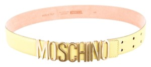 Moschino Yellow leather Moschino gold letter logo belt New S Small