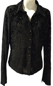 INC International Concepts Rayon Polyester Top Black