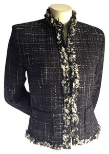 Nipon Boutique Albert Lord & Taylor Tweed Jacket Women's Tweed Coat Boucle Chanel Boucle Tweed Coat Jacket Career Work White Black Blazer