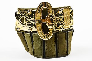 Escada Vintage Escada Olive Green Gold Tone Suede Leather Embellished Buckle Belt