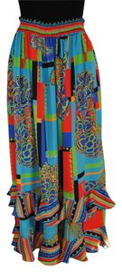 Diane Freis Ltd. Vintage 80's Ruffle Casual Party Skirt Blue, green, orange, red