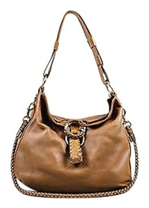 Gucci Leather Python Trim Braided Strap Large G Wave Tote Hobo Bag