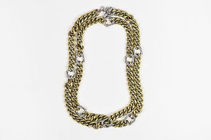 Lanvin Lanvin Brass Silver Tone Pave Crystal Layered Chunky Curb Chain Necklace